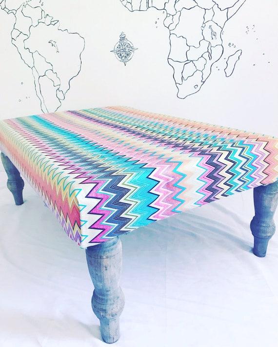 Missoni Home Zig Zag Multi Coloured Vinci Fabric Footstool Ottoman,  Bespoke Made to Order with Pom Pom Tassel Trim