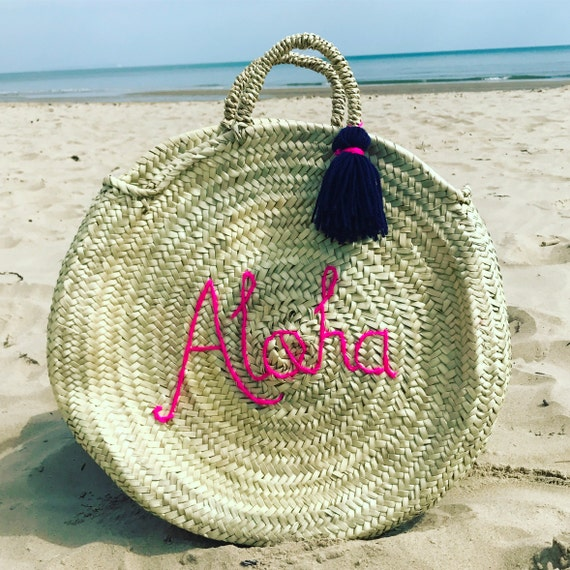 Personalised round basket with tassel