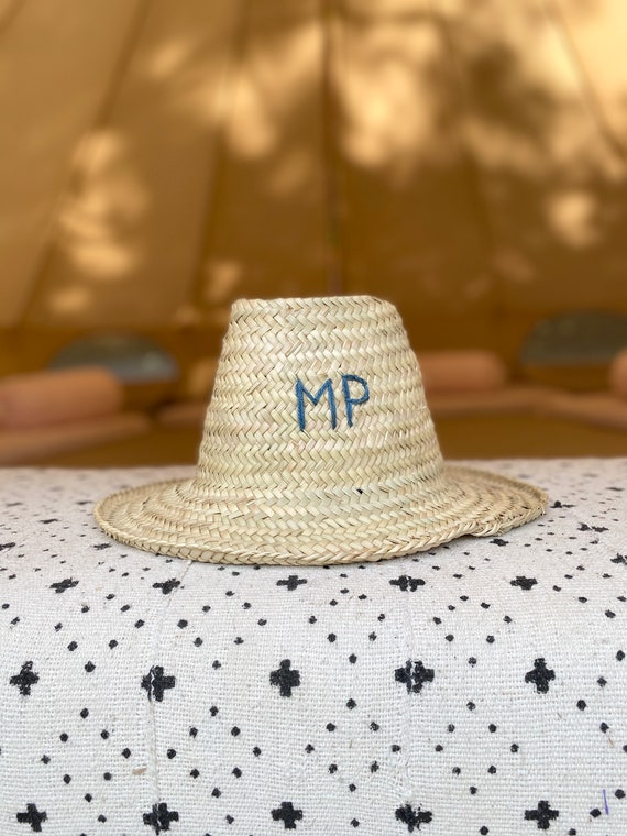Adult Moroccan straw sun hat embroidered personalised monogram