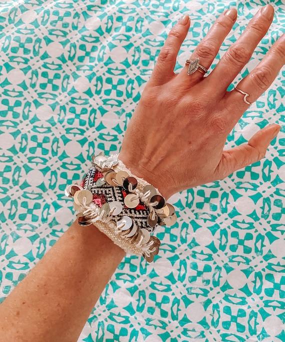 Moroccan wedding blanket bracelet bangle made with vintage pink handira