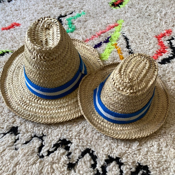 Adult Moroccan straw sun hat blue white stripe ribbon trim