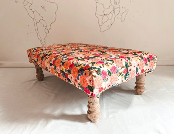 Bespoke footstool in Rifle Paper Co Company Juliet Rose