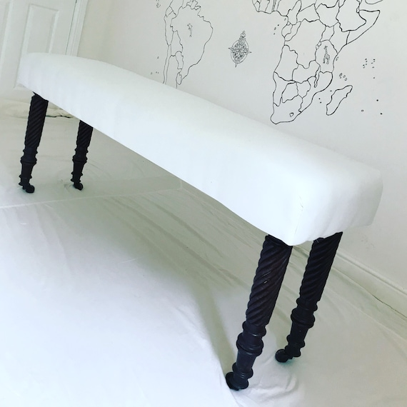 Bespoke Made to Order Custom White Linen Footstool Ottoman Upholstered Bench