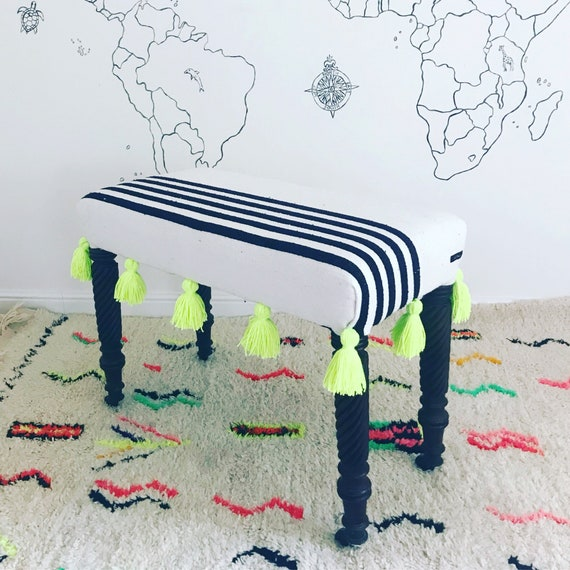 Moroccan Black White Stripe Blanket Footstool Ottoman Upholstered Bench, Bespoke Made to Order Custom