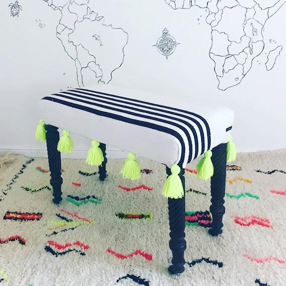 Moroccan Black White Stripe Blanket Footstool Ottoman Upholstered Bench, Bespoke Made to Order Custom