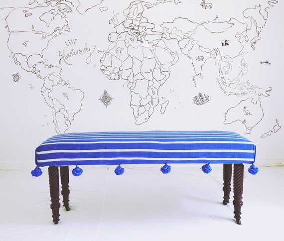 Bespoke footstool in Moroccan blue white stripe blanket