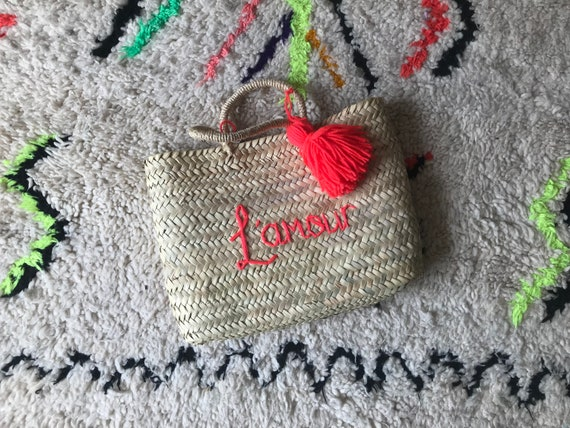 Personalised custom made to order embroidered name Moroccan French market shopping beach rectangle square wave basket tassel