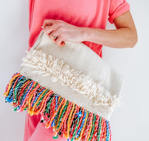 Rainbow tassel boho rug carpet clutch bag
