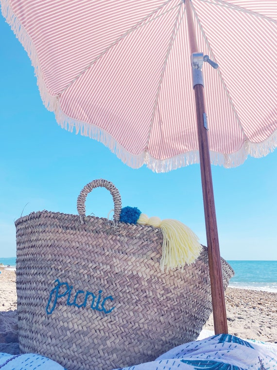 Personalised extra large market shopping beach basket. Wool embroidered name or monogram with tassel Pom Pom