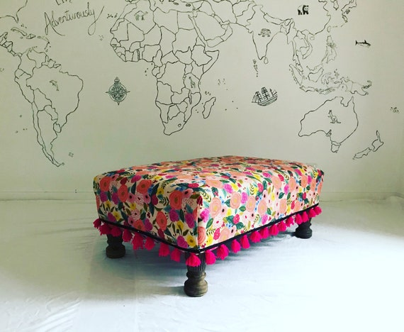 Rifle Paper Co Company Juliet Rose Canvas Furnishing Fabric Footstool Ottoman, Bespoke Made to Order with Pink Tassel Trim
