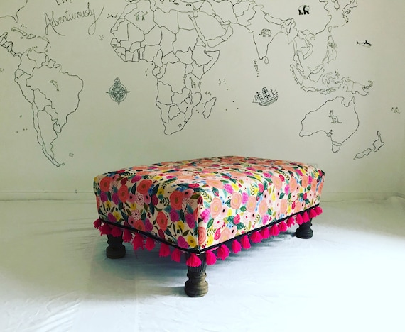 Bespoke Made to Order Custom Footstool Ottoman Rifle Paper Co Company Juliet Rose Canvas Furnishing Fabric Pink Tassel Trim