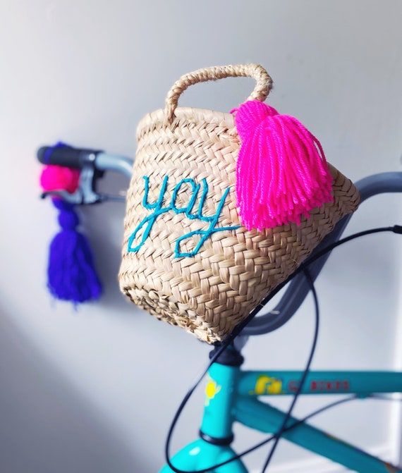 Personalised children's bicycle bike basket with leather straps and tassel