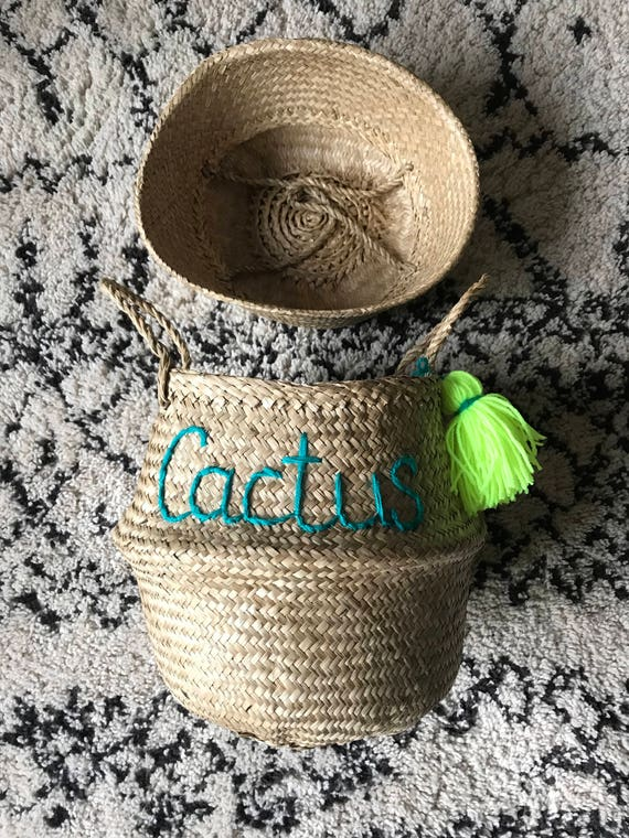 Personalised custom made to order wool embroidered name writing natural seagrass Vietnam belly basket storage plant pot cactus with tassel