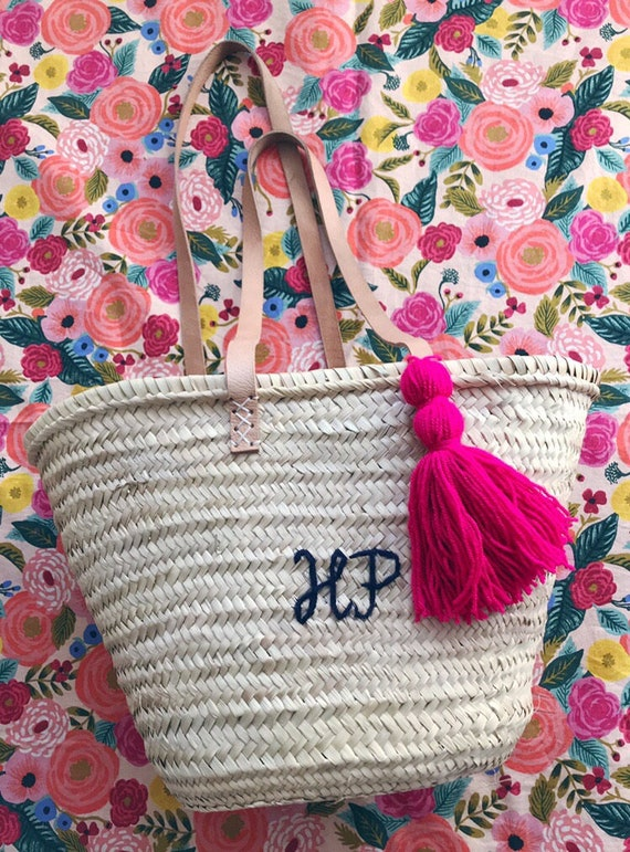 Autumn colours personalised medium market shopping beach basket. Wool embroidered name or monogram with tassel Pom Pom long leather handles