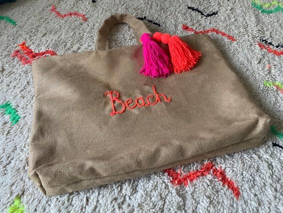 Personalised large jute tote bag with tassel