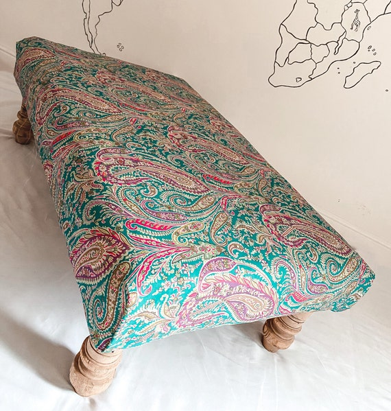 Bespoke footstool in Liberty London Felix Raison paisley fabric