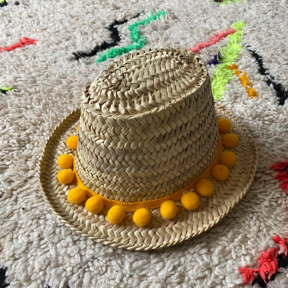Children's kids boys girls Moroccan straw sun hat yellow pom pom trim
