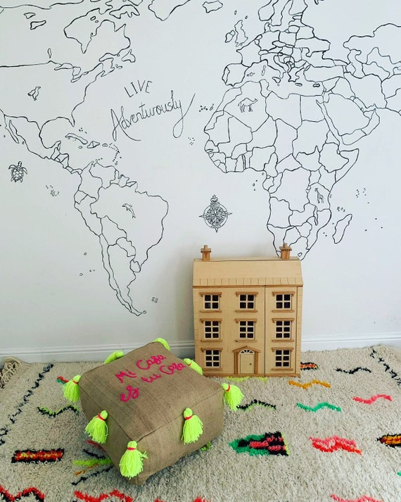 Personalised jute pouffe floor cushion with tassels