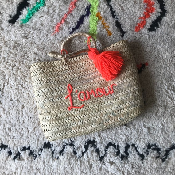 Small personalised custom made to order embroidered name Moroccan French market shopping beach rectangle square wave basket tassel