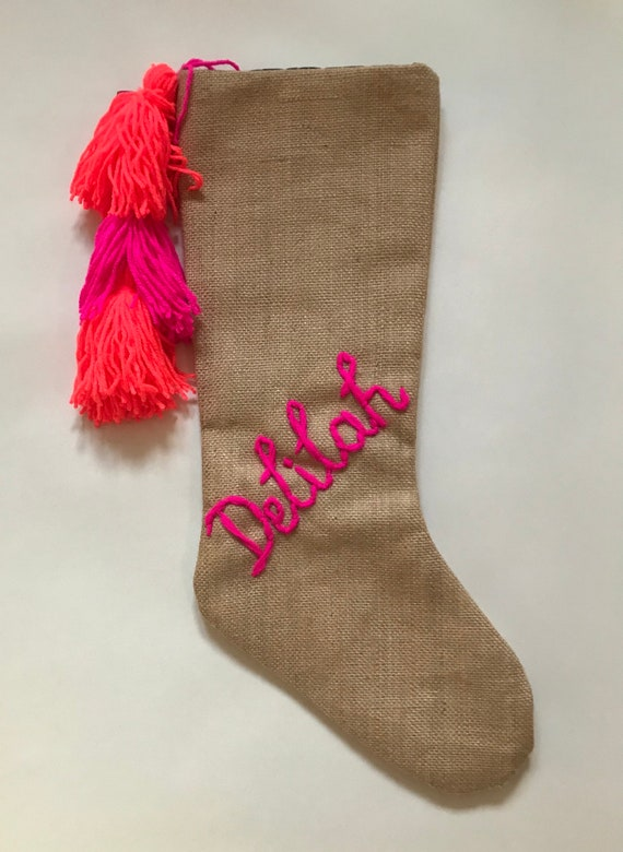 Personalised custom bespoke made to order wool embroidered name monogram boho girls hessian Christmas stocking with tassel