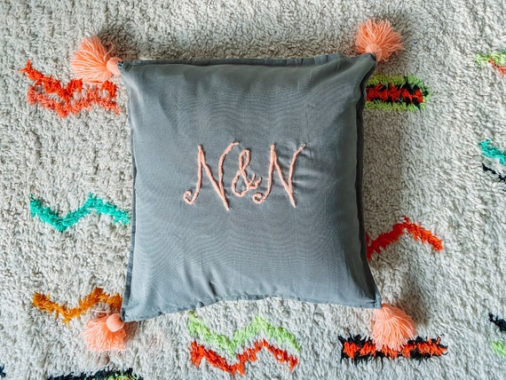 Personalised cushion cover in grey with tassels
