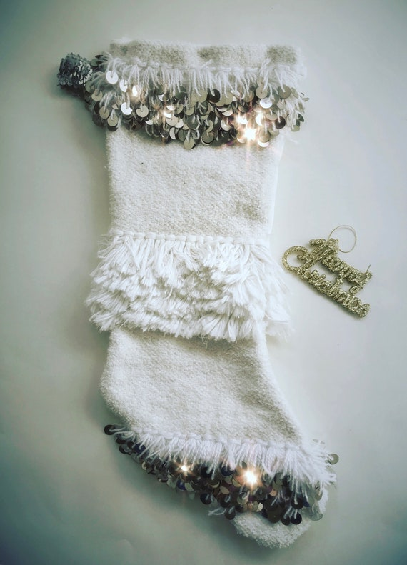 Hand made boho bohemian original Moroccan Wedding Blanket Handira Christmas stocking embellished with silver metal sequins