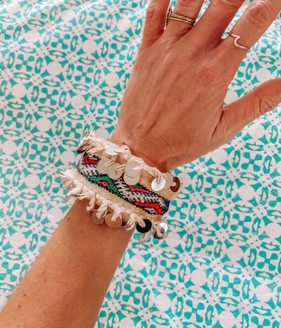 Moroccan wedding blanket bracelet bangle made with vintage handira