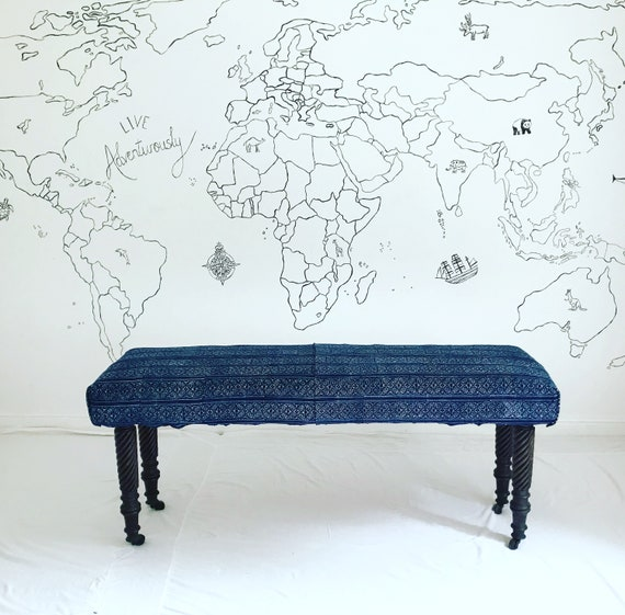 Bespoke Made to Order Custom Thai Hmong Batik Indigo Footstool Ottoman Upholstered Bench
