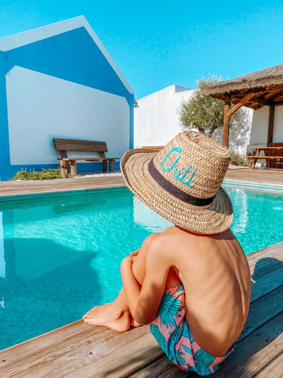 Personalised adult Moroccan straw sun hat - Chill