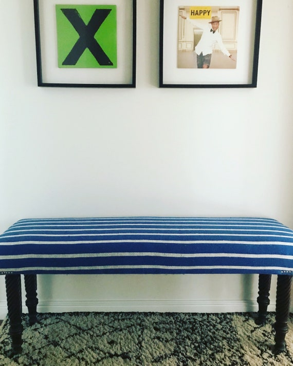 Bespoke Made to Order Custom Moroccan Blue White Stripe Blanket Footstool Ottoman Upholstered Bench