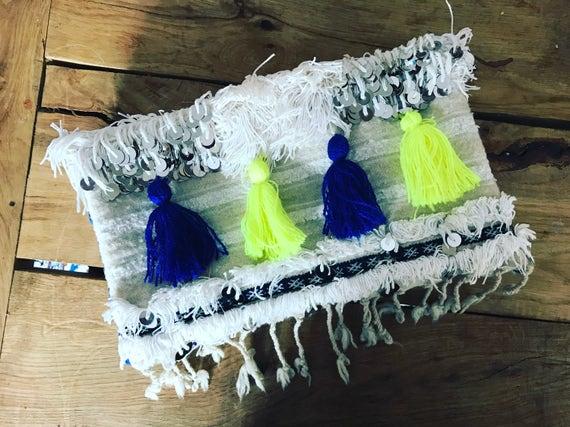 Moroccan Vintage Handira Wedding Blanket Large Foldover Clutch Bag Boho Coachella Silver Sequins Embellished Colourful Tassels
