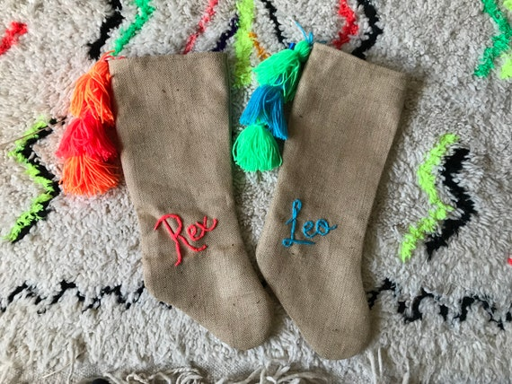 Personalised personalized custom bespoke made to order wool embroidered name monogram boho boys blue hessian Christmas stocking with tassels