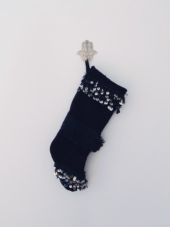 Hand made boho bohemian original black Moroccan Wedding Blanket Handira Christmas stocking embellished with silver metal sequins