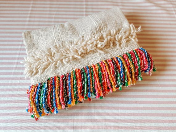 Rainbow tassel boho rug carpet clutch bag