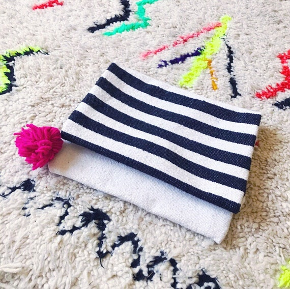 Moroccan Pom Pom Black White Stripe Blanket Large Oversized Foldover Clutch Carpet Bag Boho Coachella