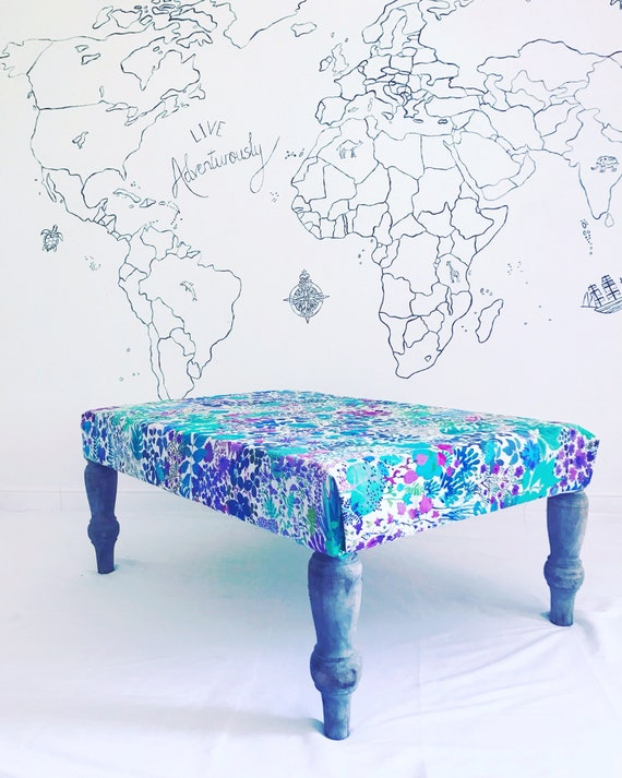 Liberty London Fresco Linen Floral Footstool Ottoman. Bespoke Made to Order with Pom Pom Tassel Trim