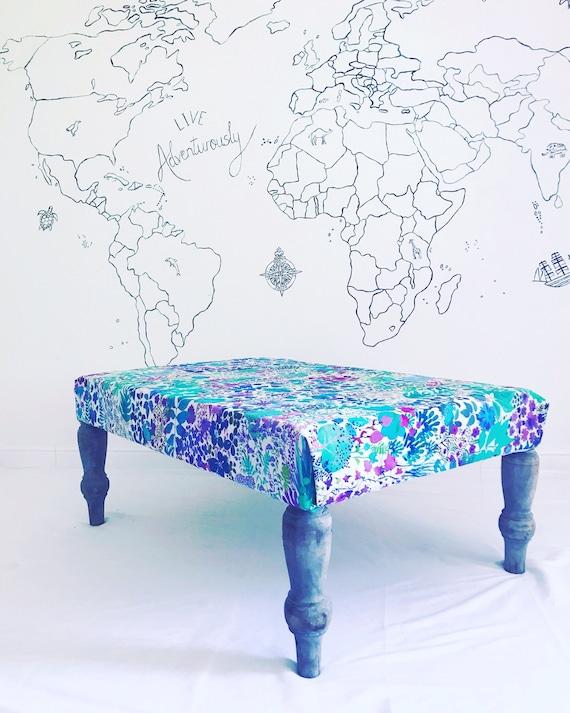 Liberty London Fresco Linen Floral Footstool Ottoman. Bespoke Made to Order with Pom Pom Tassel Trim