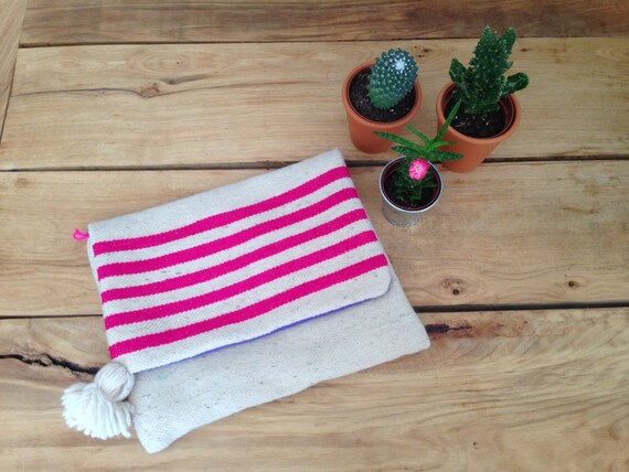 Moroccan Pom Pom Pink Stripe Blanket Large Oversized Foldover Clutch Carpet Bag Boho Coachella