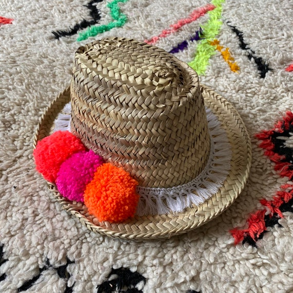 Children's kids boys girls Moroccan straw sun hat pom pom tassel trim