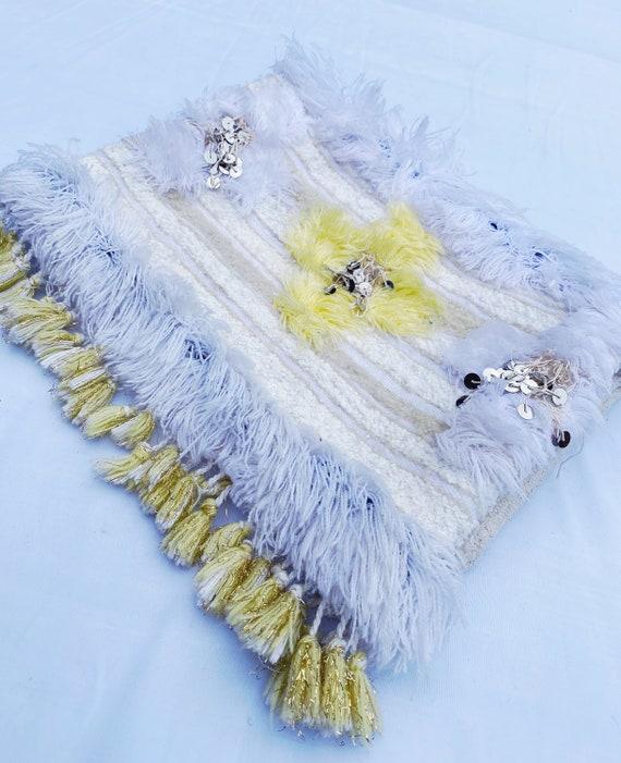 Yellow Moroccan Vintage Handira Wedding Blanket Large Foldover Carpet Clutch Bag Boho Silver Sequins Embellished