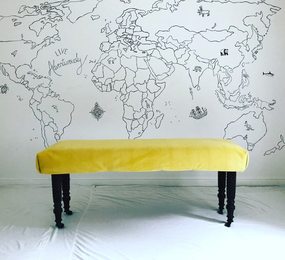 Bespoke Made to Order Custom Mustard Yellow Velvet Footstool Ottoman Upholstered Bench