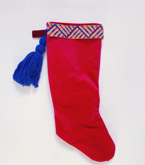 Pink velvet Christmas stocking with Indian trim and tassel