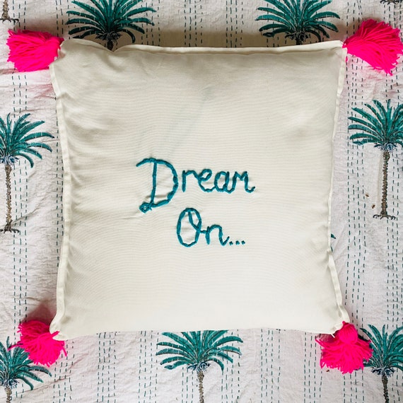 Large personalised custom made to order embroidered name square canvas cotton tassel cushion cover