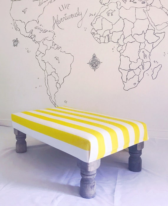 Boho Beach Pom Pom Tassel Yellow White Stripe Footstool Ottoman, Bespoke Made to Order Custom