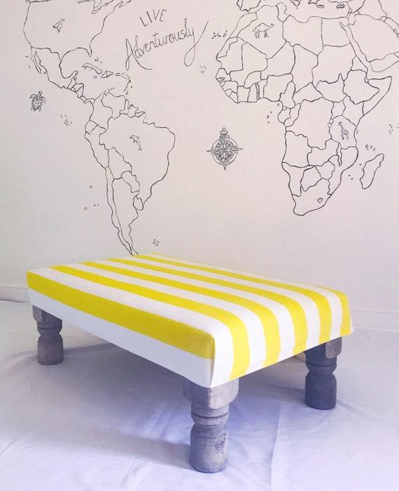Boho Beach Pom Pom Tassel Yellow White Stripe Footstool Ottoman, Bespoke Made to Order Custom