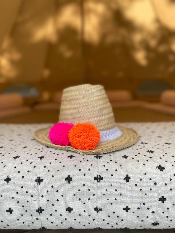 Adult Moroccan straw sun hat - pom poms