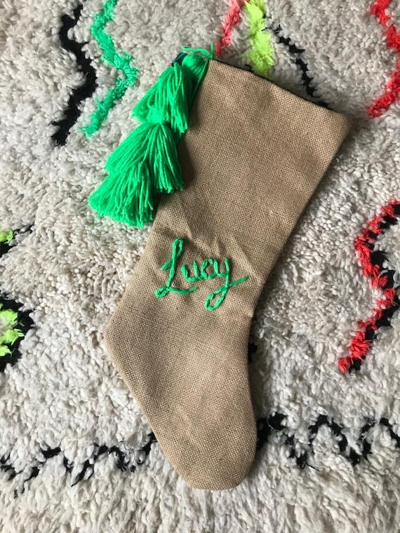Personalised custom bespoke made to order wool embroidered name monogram boho boys green hessian Christmas stocking with tassels