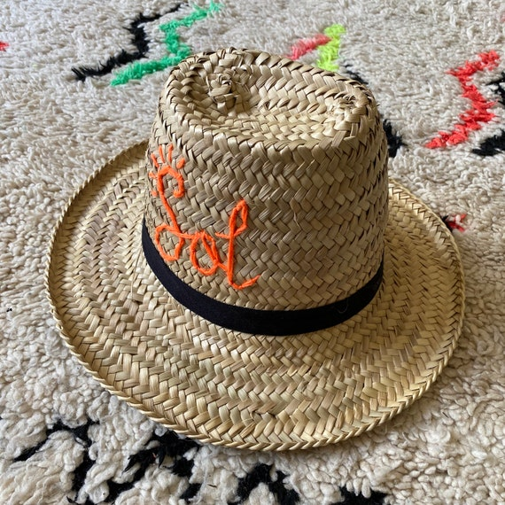 Adult Moroccan straw sun hat embroidered Sol black ribbon trim