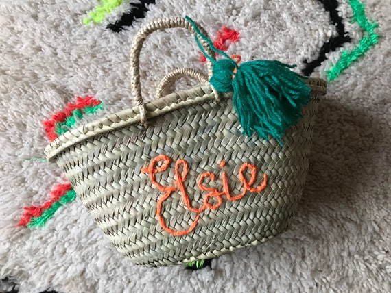 Small children's kids boys girls personalised custom made to order embroidered name Moroccan French market shopping beach basket tassel