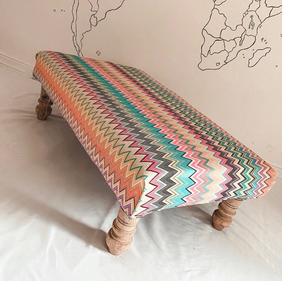 Bespoke footstool in Missoni Home zig zag Vinci fabric